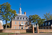 The Governor's Palace front gate opens on Duke of Gloucester Street in Colonial Williamsburg, the historic district of the city of Williamsburg, Virginia, USA. Williamsburg was colonial Virginia's capital from 1699 to 1780 and a center of education and culture.