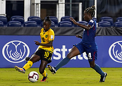 October 12, 2018 - Edinburgh, Scotland, United Kingdom - Edinburg, NC - OCTOBER 11: 2018.L-R Jody Brown of Jamaica beat Jessica Pupo Alvarez of Cuba during CONCACAF Women's Championship Group B match between Cuba against Jamaica at H-E-BPark Stadium, Edinburg,  on October 11, 2018  (Credit Image: © Action Foto Sport/NurPhoto via ZUMA Press)