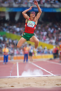 Viktar ZHUKOUSKY of Belarus in The Bird's Nest National Stadium competeing in the men's long jump F11 final at the Paralympic games, Beijing, China. 15th September 2008