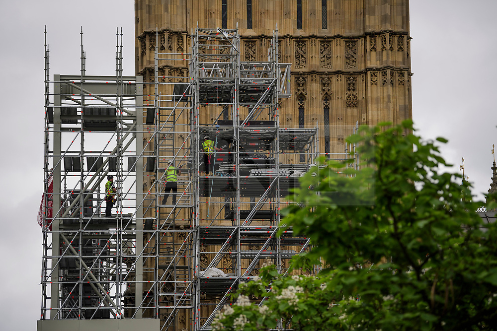 © Licensed to London News Pictures. 25/06/2017. Construction work has started around Big Ben AKA the Elizabeth Clock tower at the Houses of Parliament, ahead of repair work. Britain's best-loved bell will soon fall silent for several months as part of a three year £29 million revamp to repair the Elizabeth Tower and clock. Photo credit: Ben Cawthra/LNP