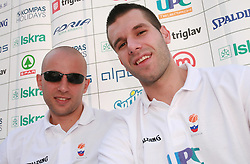 Nebojsa Joksimovic and Sani Becirovic at press conference and after time with fans of Slovenian basketball National Team before departure to Athens for Olympic qualifications, on July 12, 2008, at Presernov trg, in Ljubljana, Slovenia. (Photo by Vid Ponikvar / Sportal Images)