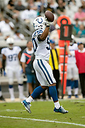Indianapolis Colts middle linebacker Anthony Walker (50) holds the ball in the air after recovering a first quarter fumble by the Jacksonville Jaguars at the Jaguars 41 yard line during the NFL week 13 regular season football game against the Jacksonville Jaguars on Sunday, Dec. 2, 2018 in Jacksonville, Fla. The Jaguars won the game in a 6-0 shutout. (©Paul Anthony Spinelli)