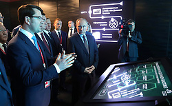September 5, 2017 - Vladivostok, Primorye Territory, Russia - September 5, 2017. - Russia, Primorye Territory, Vladivostok. - Russian President Vladimir Putin tours the exhibition devoted to priority development areas in Russia's Far East, as part of the 3rd Eastern Economic Forum at the Far Eastern Federal University on Russky Island. (Credit Image: © Russian Look via ZUMA Wire)