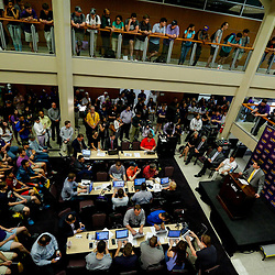 Mar 22, 2017; Baton Rouge, LA, USA; LSU Tigers head coach Will Wade talks to the media as fan gather around during his introductory press conference at the LSU Student Union. Mandatory Credit: Derick E. Hingle-USA TODAY Sports