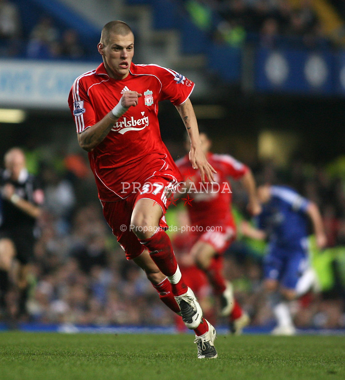 LONDON, ENGLAND - Sunday, February 10, 2008: Liverpool's Martin Skrtel in action against Chelsea during the Premiership match at Stamford Bridge. (Photo by Chris Ratcliffe/Propaganda)