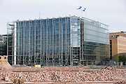Sanoma House (HQs of Finland's largest publishing house) in front of demolished buildings.