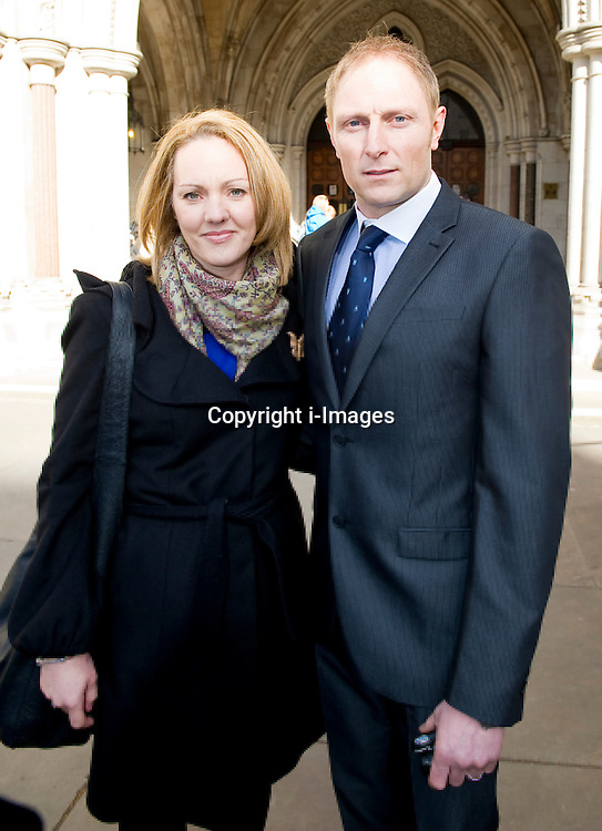 Danny Nightingale with his wife Sally at the High Court today.The soldier received an 18-month custodial sentence last November for illegally possessing a pistol and ammunition but was released following a campaign led by his wife, London, UK, March 13, 2013. Photo by: i-Images...