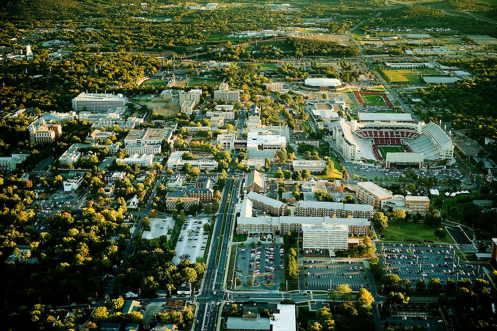 FAYETTEVILLE, AR - October 14:  Aerial view  of the University of Arkansas campus on October 14, 2006 in Fayetteville, Arkansas.   (Photo by Wesley Hitt/Getty Images) *** Local Caption ***