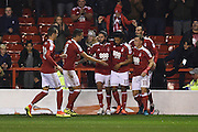 The Reds celebrate with Nottingham Forest midfielder Hildeberto Pereira (17) who scored to go 2-1 during the EFL Sky Bet Championship match between Nottingham Forest and Birmingham City at the City Ground, Nottingham, England on 14 October 2016. Photo by Jon Hobley.