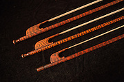 Baroque-style violin bows made of snakewood by Pieter Affourtit of the Netherlands.