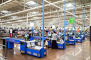 ROGERS, AR - OCTOBER 12:  Customers check out at Walmart Store #4208 on October 12, 2015 in Rogers, Arkansas.  <br /> CREDIT Wesley Hitt for Wall Street Journal<br /> WALSQUEEZE