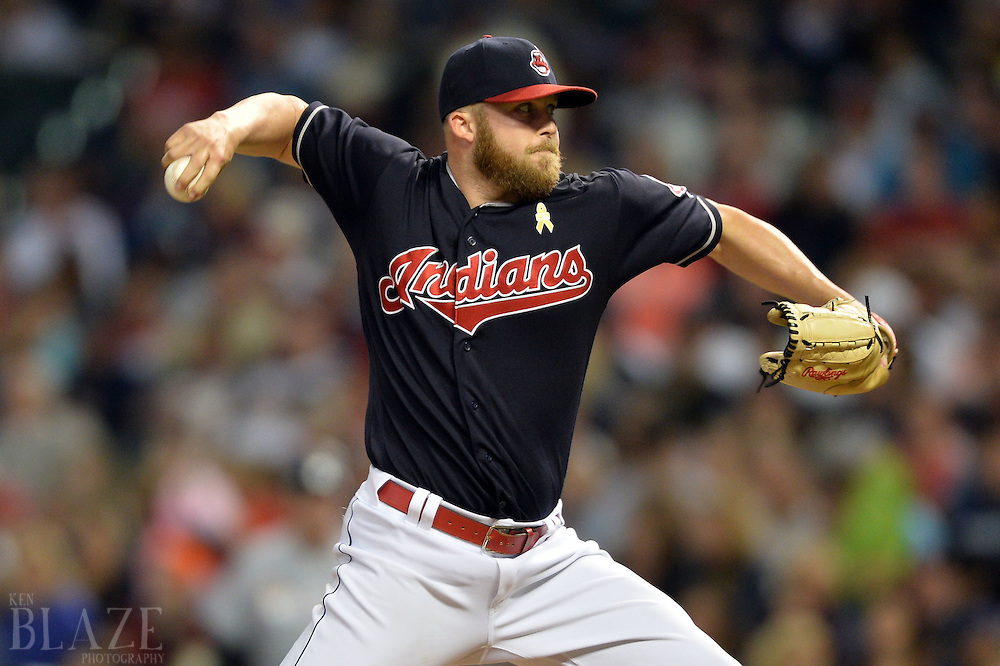 Sep 2, 2016; Cleveland, OH, USA; Cleveland Indians relief pitcher Cody Allen (37) throws a pitch  during the ninth inning against the Miami Marlins at Progressive Field. Mandatory Credit: Ken Blaze-USA TODAY Sports