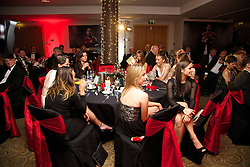 CARDIFF, WALES - Monday, October 6, 2014: Wales' women's players at the FAW Footballer of the Year Awards 2014 held at the St. David's Hotel. (Pic by David Rawcliffe/Propaganda)