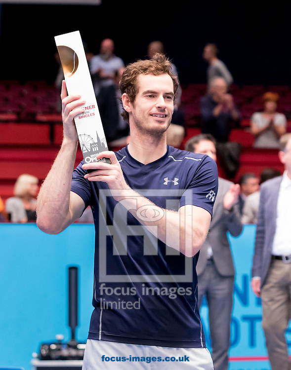 Andy Murray with the trophy during the final of the Erste Bank Open at Wiener Stadthalle, Vienna, Austria.<br /> Picture by EXPA Pictures/Focus Images Ltd 07814482222<br /> 30/10/2016<br /> *** UK &amp; IRELAND ONLY ***<br /> EXPA-PUC-161030-0467.jpg