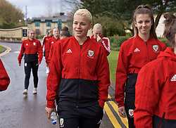 CARDIFF, WALES - Thursday, April 4, 2019: Wales' Grace Horrell during a pre-match team walk at the Vale Resort ahead of an International Friendly match between Wales and Czech Republic at Rodney Parade. (Pic by David Rawcliffe/Propaganda)