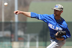 11 April 2015:  Sean Beal during an NCAA division 3 College Conference of Illinois and Wisconsin (CCIW) Pay in Baseball game during the Conference Championship series between the Millikin Big Blue and the Illinois Wesleyan Titans at Jack Horenberger Stadium, Bloomington IL