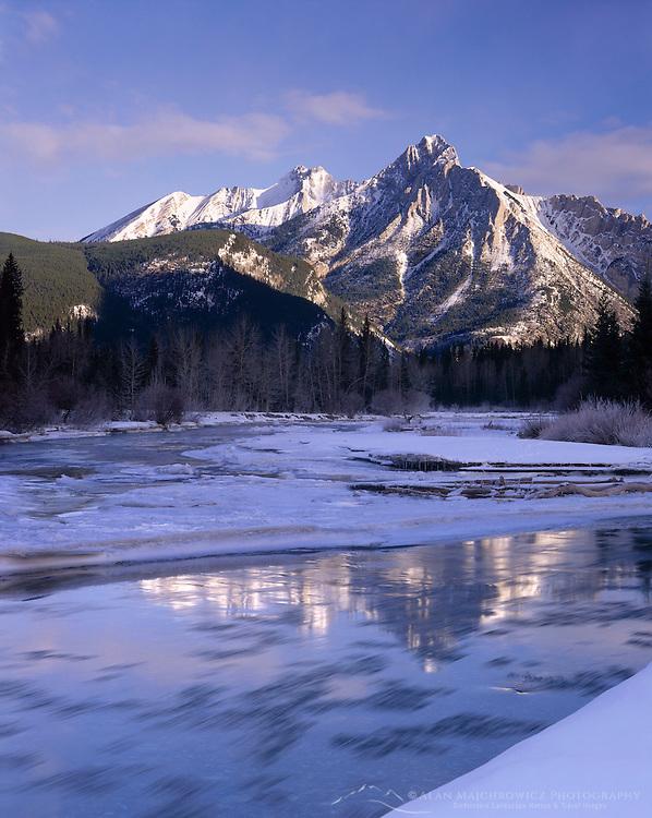 Mount Lorette and the Kananaskis River in winter Alberta Canada