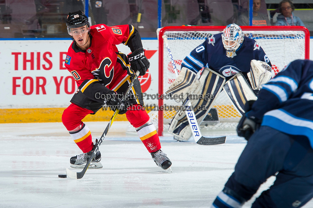 PENTICTON, CANADA - SEPTEMBER 11: Glenn Gawdin #80 of Calgary Flames looks for the pass against the Winnipeg Jets on September 11, 2017 at the South Okanagan Event Centre in Penticton, British Columbia, Canada.  (Photo by Marissa Baecker/Shoot the Breeze)  *** Local Caption ***