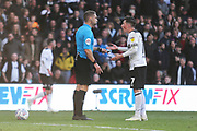 Match referee Craig Pawson rules out the penalty as Derby County midfielder Harry Wilson (7) protests during the EFL Sky Bet Championship match between Derby County and Leeds United at the Pride Park, Derby, England on 11 May 2019.