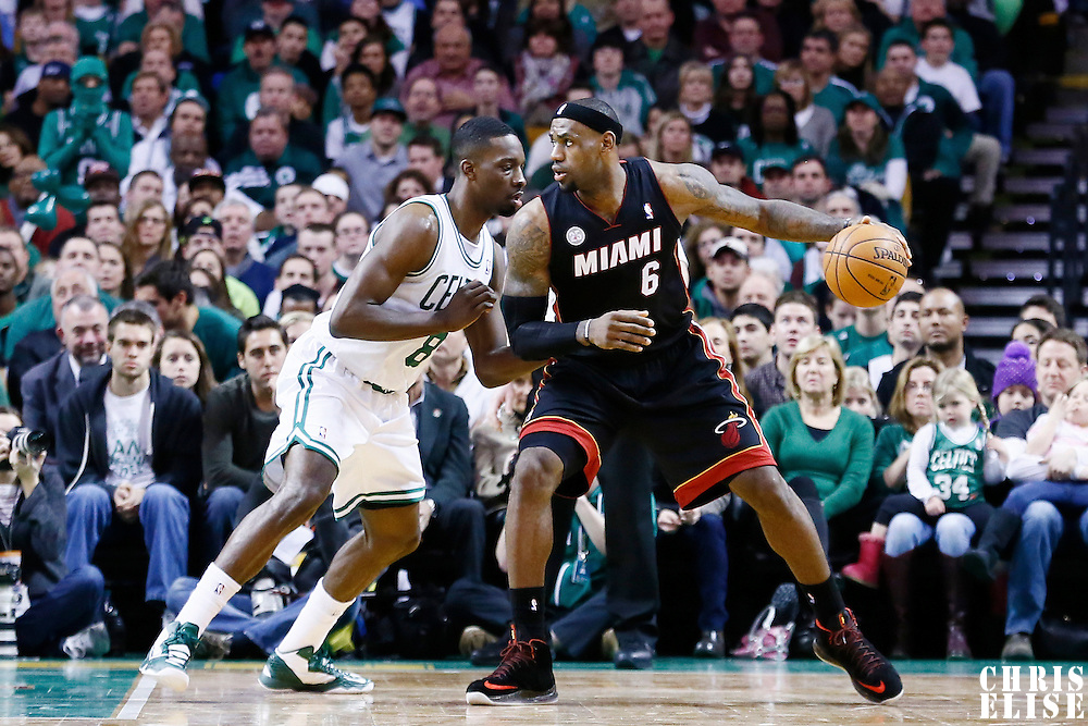 27 January 2013: Miami Heat small forward LeBron James (6) posts up Boston Celtics power forward Jeff Green (8) during the Boston Celtics 100-98  2OT victory over the Miami Heat at the TD Garden, Boston, Massachusetts, USA.
