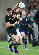 All Blacks Beauden Barrett & Handre Pollard of South Africa during the Rugby Championship match between the New Zealand All Blacks & South Africa at Westpac Stadium, Wellington on Saturday 27th July 2019. Copyright Photo: Grant Down / www.Photosport.nz