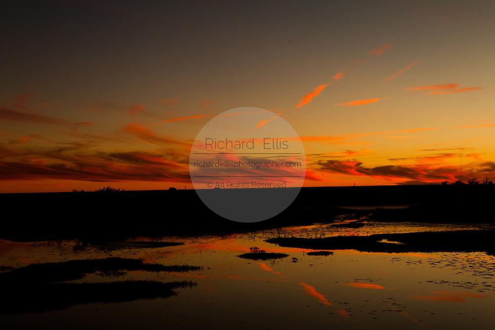 Sunset over the marshes around Charleston, SC.