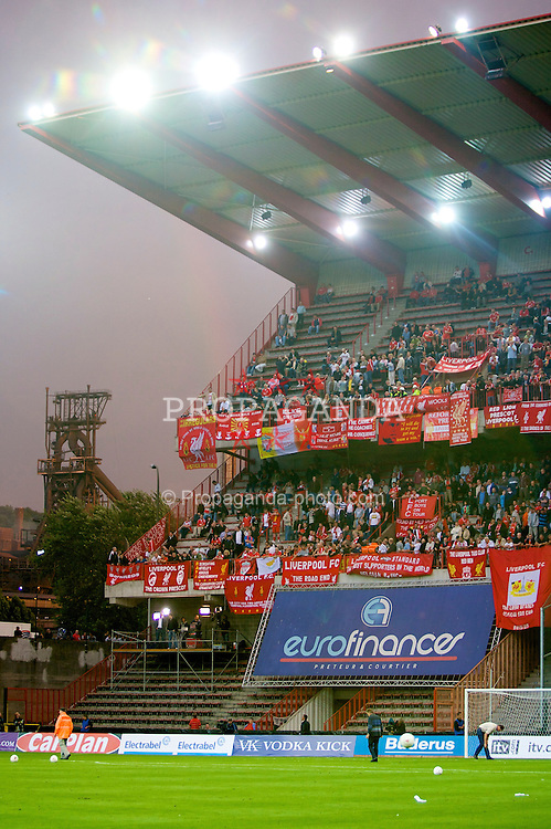 LIEGE, BELGIUM - Wednesday, August 13, 2008: Liverpool supporters in the shadow of the local steel works during the UEFA Champions League 3rd Qualifying Round match against Royal Standard de Liege at the Stade Maurice Dufrasne. (Photo by David Rawcliffe/Propaganda)