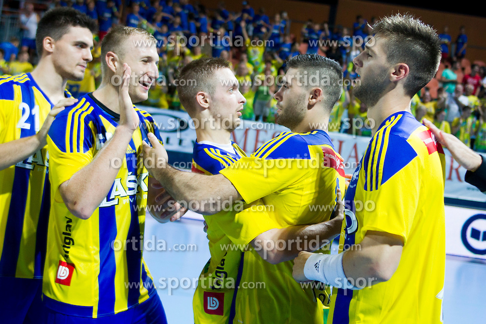 Players of RK Celje Pivovarna Lasko celebrate after handball match between RK Celje Pivovarna Lasko vs RK Gorenje Velenje of Super Cup 2015, on August 29, 2015 in SRC Marina, Portoroz / Portorose, Slovenia. Photo by Urban Urbanc / Sportida