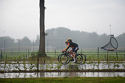 Christine Majerus & Amy Pieters make their way to a wet start line at Boels Rental Ladies Tour Stage 2 a 132.8 km road race from Eibergen to Arnhem, Netherlands on August 30, 2017. (Photo by Sean Robinson/Velofocus)