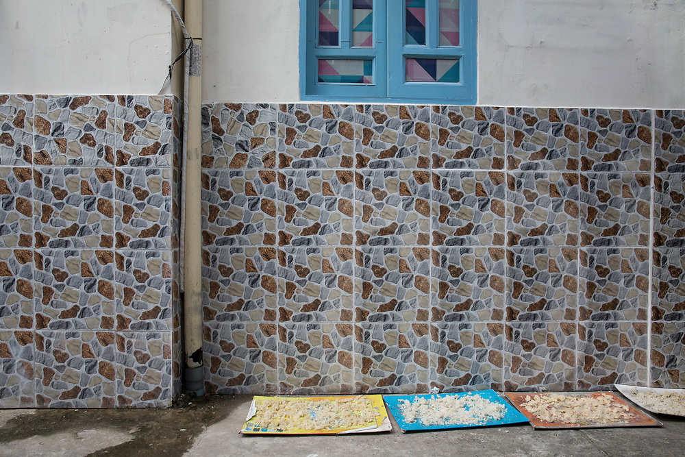 Rice drying on rudimentary trays in an alleyway, Ho Chi Minh City, Vietnam, Southeast Asia