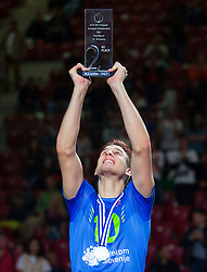 Jan Kozamernik #10 of Slovenia celebrates at trophy ceremony after Slovenia placed 2nd after volleyball match between National teams of Slovenia and France at Final match of 2015 CEV Volleyball European Championship - Men, on October 18, 2015 in Arena Armeec, Sofia, Bulgaria. Photo by Vid Ponikvar / Sportida