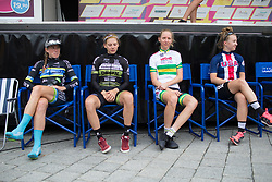 Riders wait for the podium ceremony after Stage 4 of the Lotto Thuringen Ladies Tour - a 18.7 km individual time trial, starting and finishing in Schmolln on July 16, 2017, in Thuringen, Germany. (Photo by Balint Hamvas/Velofocus.com)