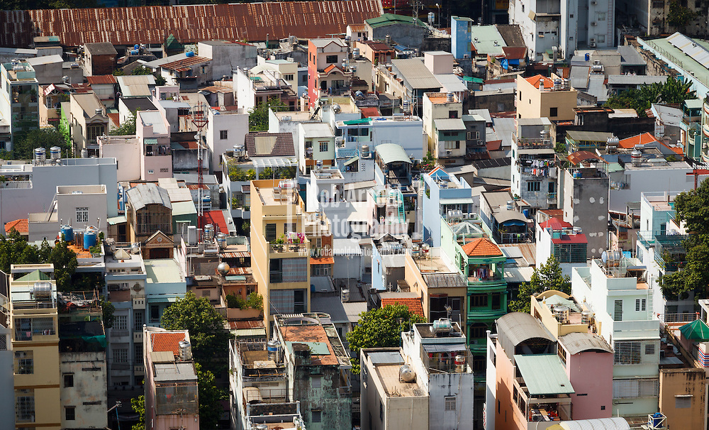 27/04/2013, Ho Chi Minh City, Vietnam. The rooftops of houses in Ho Chi Minh City, Vietnam. Photo by Rob Arnold