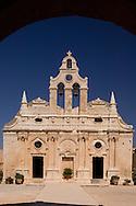 The Venetain facade of the Arhkadhi Monastery ( Moni Arkhadhi)<br /> twenty-five miles from Rethymnon, Crete, Greece