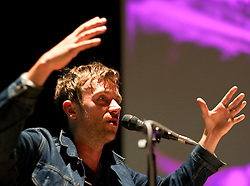 © Licensed to London News Pictures. 03/09/2012..Middlesbrough, England..Damon Albarn..The Africa Express comes to Teesside. The collective of African and Western musicians have begun their tour around the UK with their first gig in Middlesbrough Town Hall in Cleveland...Africa Express began in 2006 with a trip to Mali, when co-founder Damon Albarn of Blur and later Gorillaz took Fatboy Slim, Martha Wainwright and others to play with acts such as Toumani Diabate, Salif Keita and Amadou & Mariam...Rehearsing and creating new music on a specially hired train as they go, each show is designed to be a complete one off event. Further gigs during this tour are at Glasgow, Manchester, Cardiff, Bristol and London...Photo credit : Ian Forsyth/LNP