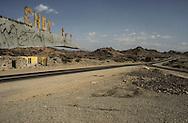 Yemen. Sanaa. Cyrillic information on the road to Mokah    Russian presence       /   panneaux en cyrillique sur la route de Mokah    présence russe