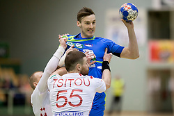 Jaka Malus of Slovenia during friendly handball match between National teams of Slovenia and Belarus, on April 8, 2018 in Sports hall Tri Lilije, Lasko, Slovenia. Photo by Urban Urbanc / Sportida
