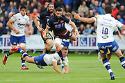 Sean Kennedy skips a tackle by Jack Walker during the Rugby Friendly match between Edinburgh Rugby and Bath Rugby at Meggetland Sports Compex, Edinburgh, Scotland on 17 August 2018.