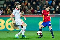 Macedonia's Stefan Ristovski Spain's David Silva  during the match of European qualifying round between Spain and Macedonia at Nuevo Los Carmenes Stadium in Granada, Spain. November 12, 2016. (ALTERPHOTOS/Rodrigo Jimenez)