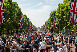 © Licensed to London News Pictures. 09/06/2018. London, UK. People fill The Mall to watch as the Royal Air Force (RAF) perform a flypast as part of the Trooping the Colour ceremony in London to mark the 92nd birthday of Queen Elizabeth II, Britain's longest reigning monarch. Photo credit: Rob Pinney/LNP