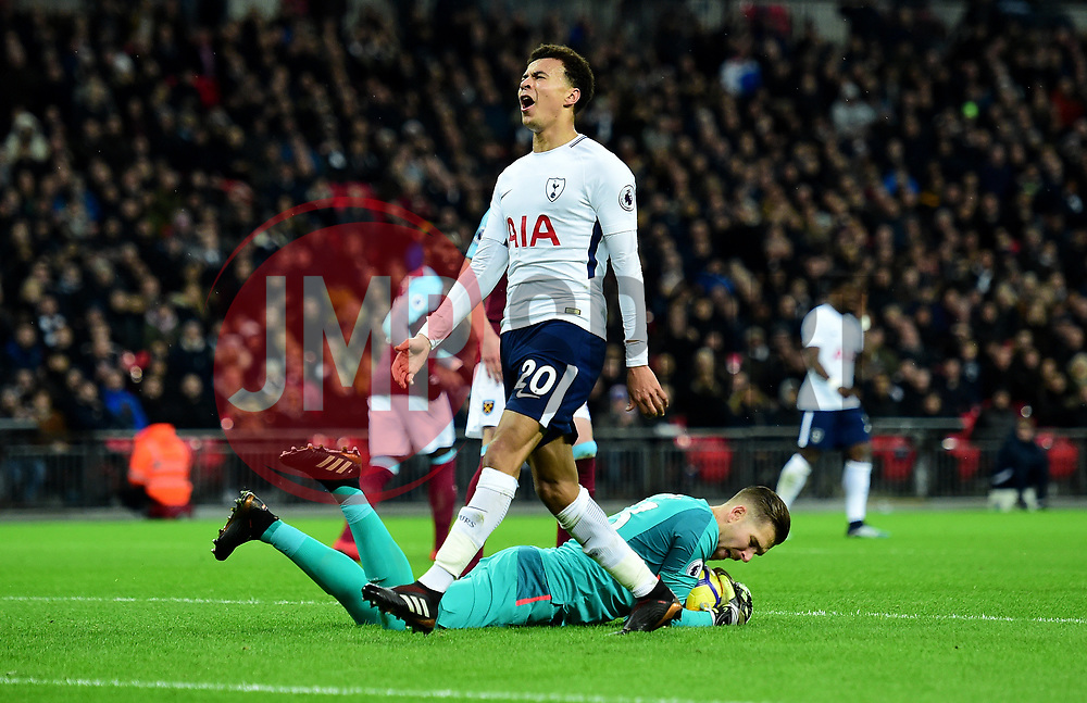 Dele Alli of Tottenham Hotspur looks frustrated after missing a chance.  - Mandatory by-line: Alex James/JMP - 04/01/2018 - FOOTBALL - Wembley Stadium - London, England - Tottenham Hotspur v West Ham United - Premier League