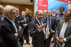 September 11, 2017 - Berlin, Germany - Chairman and Chancellor Candidate of the Social Democratic Party (SPD) Martin Schulz (C) speaks with journalists after a news conference in Berlin at the SPD Headuquarters Willy-Brandt-Haus in Berlin, Germany on September 11, 2017. (Credit Image: © Emmanuele Contini/NurPhoto via ZUMA Press)