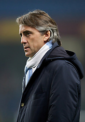MANCHESTER, ENGLAND - Thursday, March 15, 2012: Manchester City's manager Roberto Mancini before the UEFA Europa League Round of 16 2nd Leg match against Sporting Clube de Portugal at City of Manchester Stadium. (Pic by Vegard Grott/Propaganda)