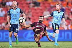 January 8, 2018 - Brisbane, QUEENSLAND, AUSTRALIA - Fahid Ben Khalfallah of the Roar (14, centre) kicks the ball during the round fifteen Hyundai A-League match between the Brisbane Roar and Sydney FC at Suncorp Stadium on Monday, January 8, 2018 in Brisbane, Australia. (Credit Image: © Albert Perez via ZUMA Wire)