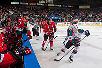 KELOWNA, CANADA - APRIL 14: Kole Lind #16 of the Kelowna Rockets tries to intercept the puck on a pass by Keegan Iverson #13 of the Portland Winterhawks on April 14, 2017 at Prospera Place in Kelowna, British Columbia, Canada.  (Photo by Marissa Baecker/Shoot the Breeze)  *** Local Caption ***