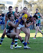 WAFL Elimination Final - Peel Thunder v East Perth Royals at Bendigo Bank Stadium, Mandurah. Photo by Daniel Wilkins. PICTURED- Peel's Rory O'Brien lays a tackle on East Perth's Jordan Snadden