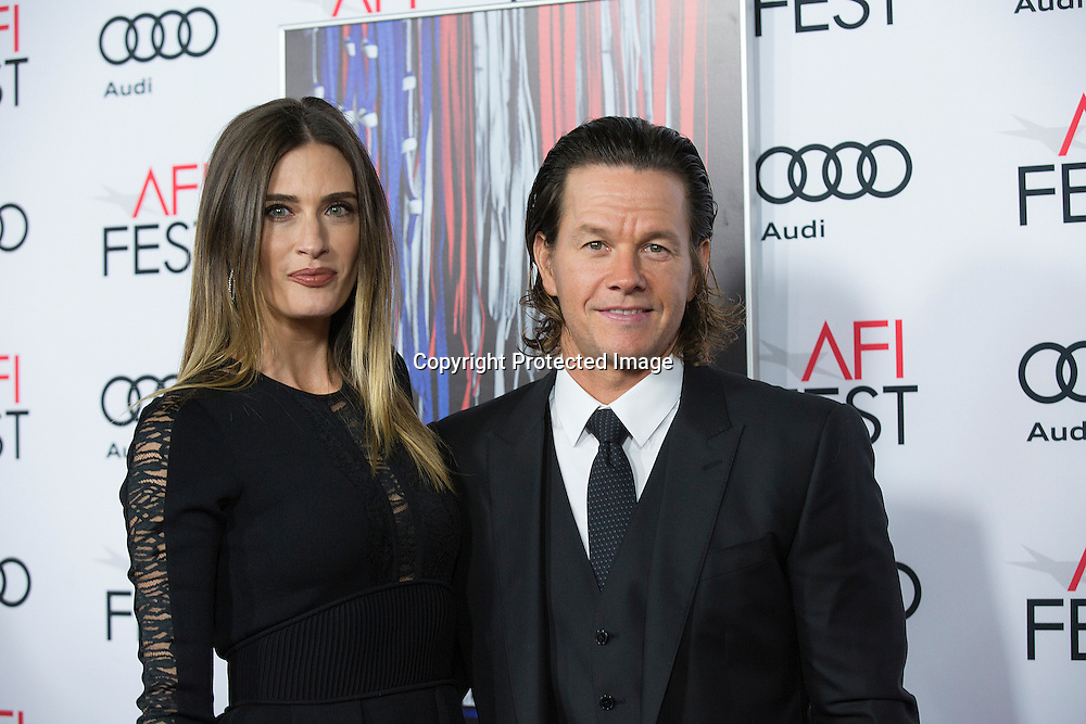 Model Rhea Durham with producer/actor Mark Walhberg attend the AFI 2016 Fest presented by AUDI closing night screening of Patriots Day at TCL Chinese Theatre, Hollywood, CA on November 17th