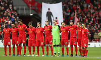 Football - 2016 / 2017 Premier League - Liverpool vs. Watford<br /> <br /> Liverpool player take part in a minutes silence before  the match at Anfield<br /> <br /> COLORSPORT/LYNNE CAMERON
