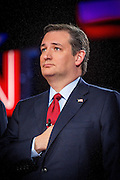Presidential hopeful Ted Cruz (R-Tx) during the national anthem before the CNN Republican Presidential Debate at the Venetian Hotel and Casino in Las Vegas.