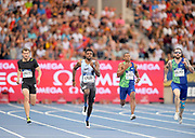 Noah Lyles (USA) wins the 200m in a meet record 19.65 to ellipse the time of 19.73 by Usain Bolt (JAM) in 2013 during the Meeting de Paris, Saturday, Aug. 24, 2019, in Paris. From left: Christophe Lemaitre (FRA), Lyles, Alex Quinnonez (ECU) and Ramil Guliyev (TUR).(Jiro Mochizuki/Image of Sport via AP)